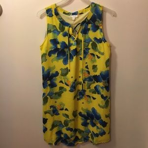 Yellow dress with blue flowers.